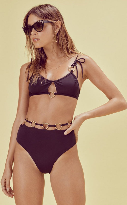 For Love and Lemons Heart Strings Bow Swim Top