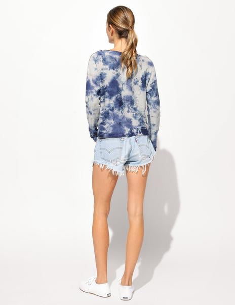 Sundry Tie Dye Raw Edge Pullover Sweater