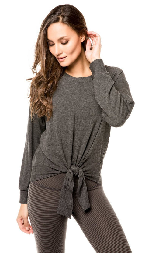 Strut This Sky Sweatshirt Tie Front Dark Gray