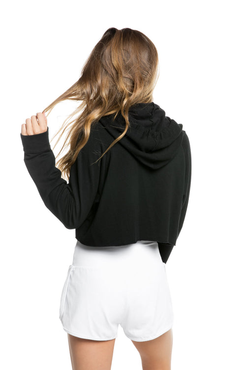 Strut This Sky Crop Hoodie Sweatshirt Kiss Black