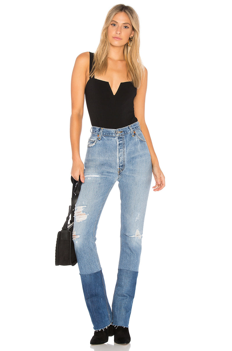 Free People Pippa V-Wire Bodysuit Black
