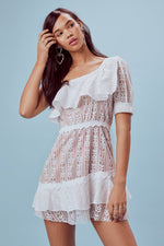 For Love and Lemons Lovebird Lace One Shoulder Mini Dress