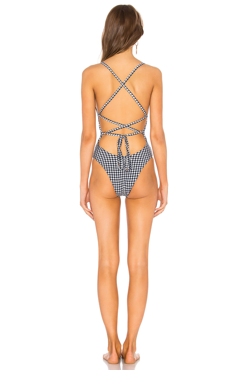 Blue Life Swim Suit Zipped Up One Piece Navy