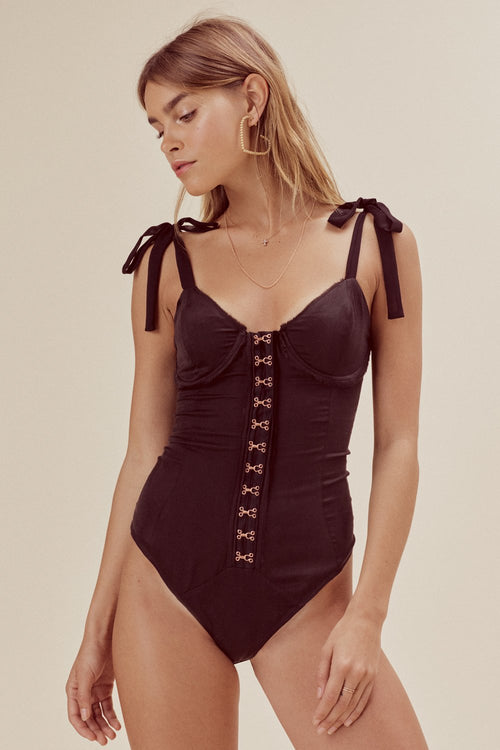 For Love & Lemons Lucy Hook And Eye Silk Bodysuit