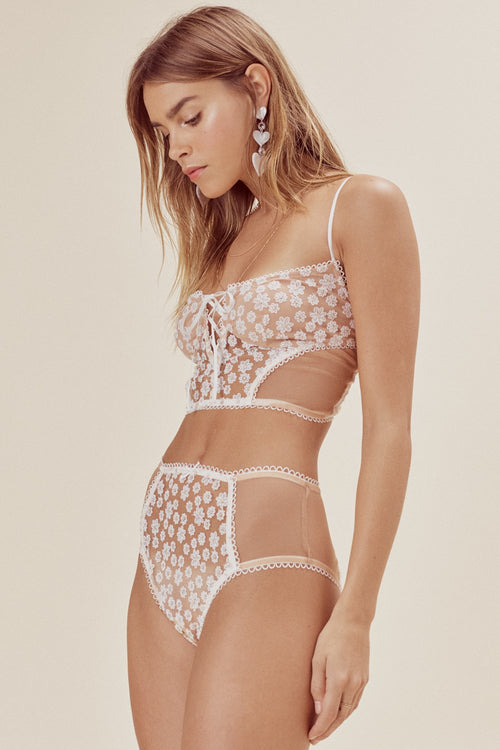 For Love & Lemons Ditzy Daisy Lace Up Bustier