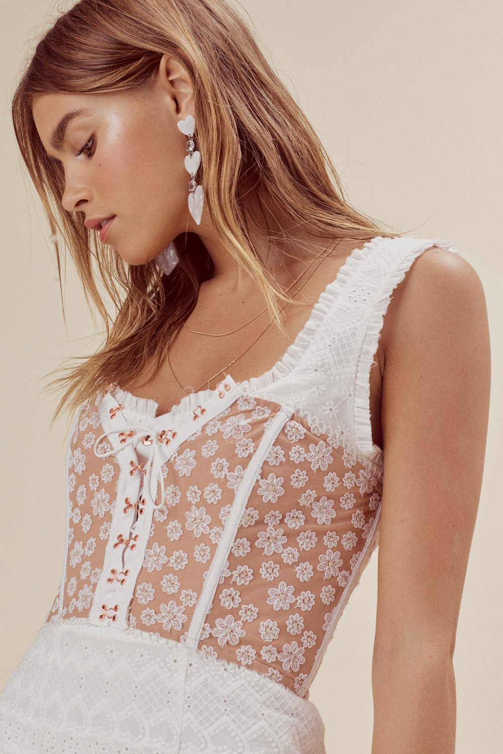 For Love & Lemons Ditzy Daisy Strapless Bustier