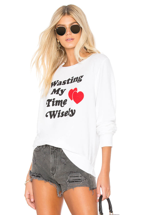 Wildfox Wasting Time Wisely Baggy Beach Jumper Sweater
