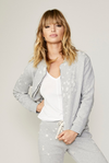 David Lerner Distressed French Terry Zip Up Jacket