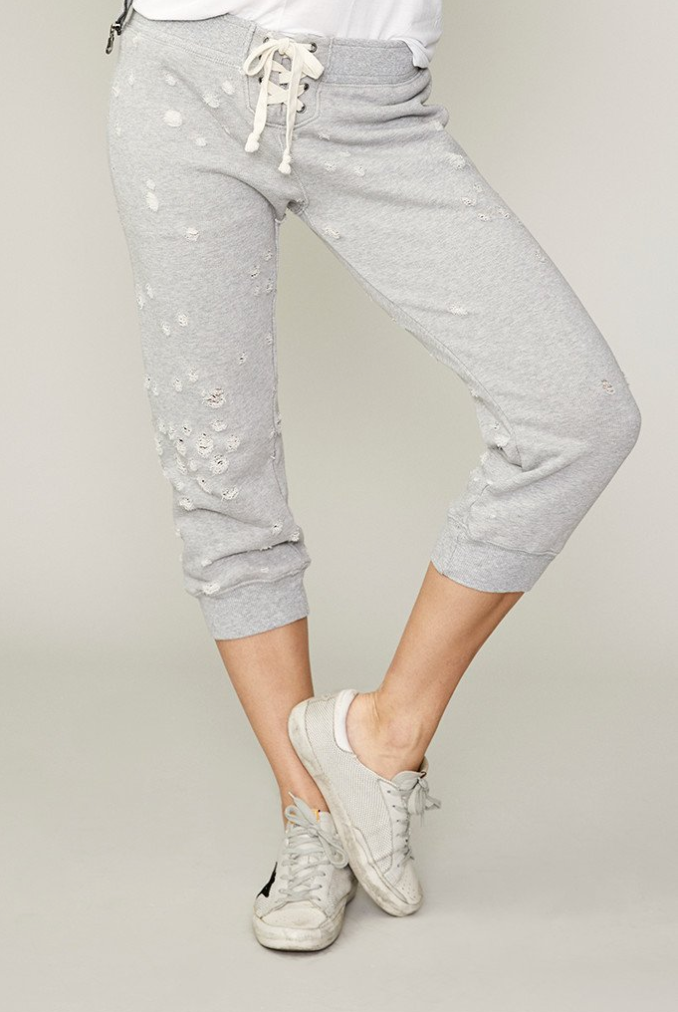 David Lerner Distressed French Terry Cropped Track Pant
