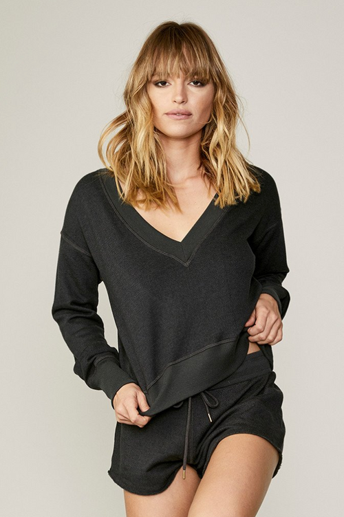 David Lerner Long Sleeve French Terry Pullover with Cutout