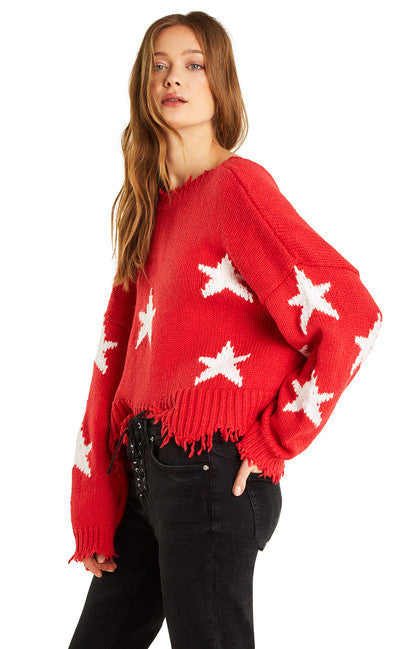 Wildfox Palmetto Sweater Stars Scarlet