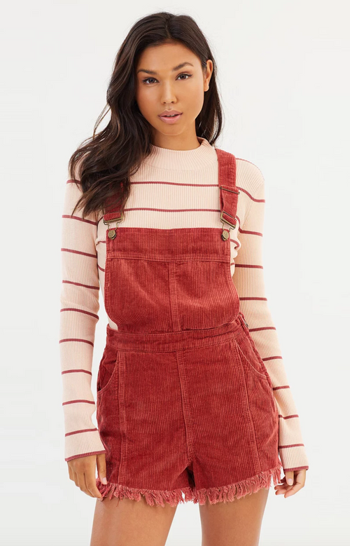 MINKPINK Empire Cord Mini Overalls