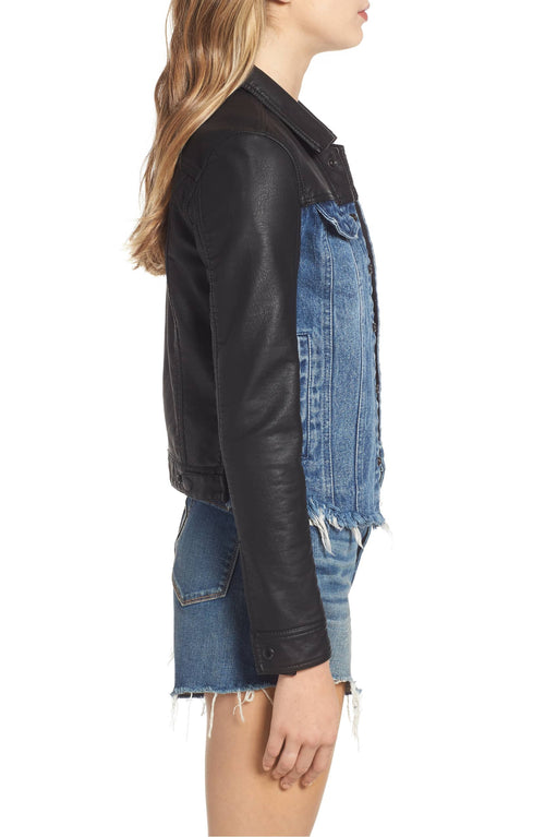 Blank NYC Arachnophobia Faux Leather & Denim Jacket