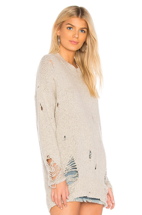 One Teaspoon Laddered Whiskey Distressed Knit Sweater