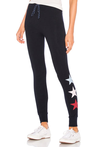 Strut This Sage Ankle Black/Silver Star Elastic Legging