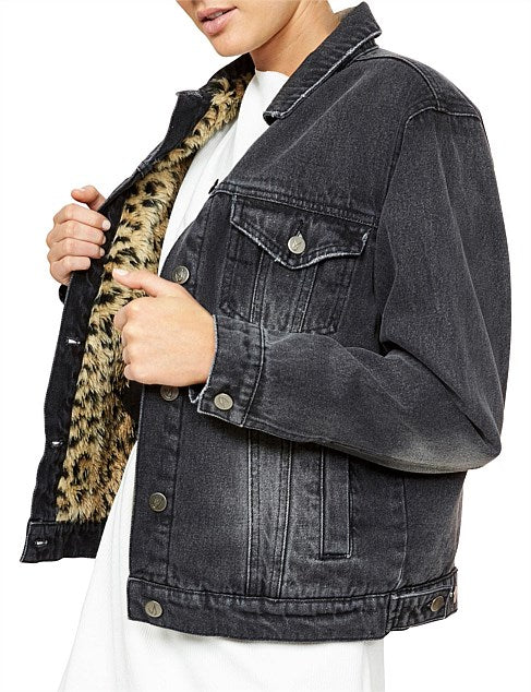 MINKPINK Cat Call Faux Leopard Girlfriend Jacket