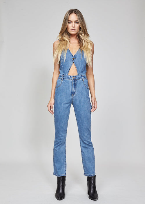 MINKPINK Minx Denim Jumpsuit