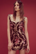 For Love and Lemons Brocade Tapestry Mini Dress Black Floral
