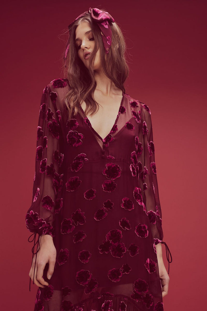 For Love and Lemons Sophie Velvet Floral Midi Dress