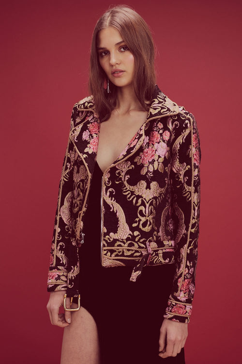 For Love and Lemons Brocade Moto Jacket
