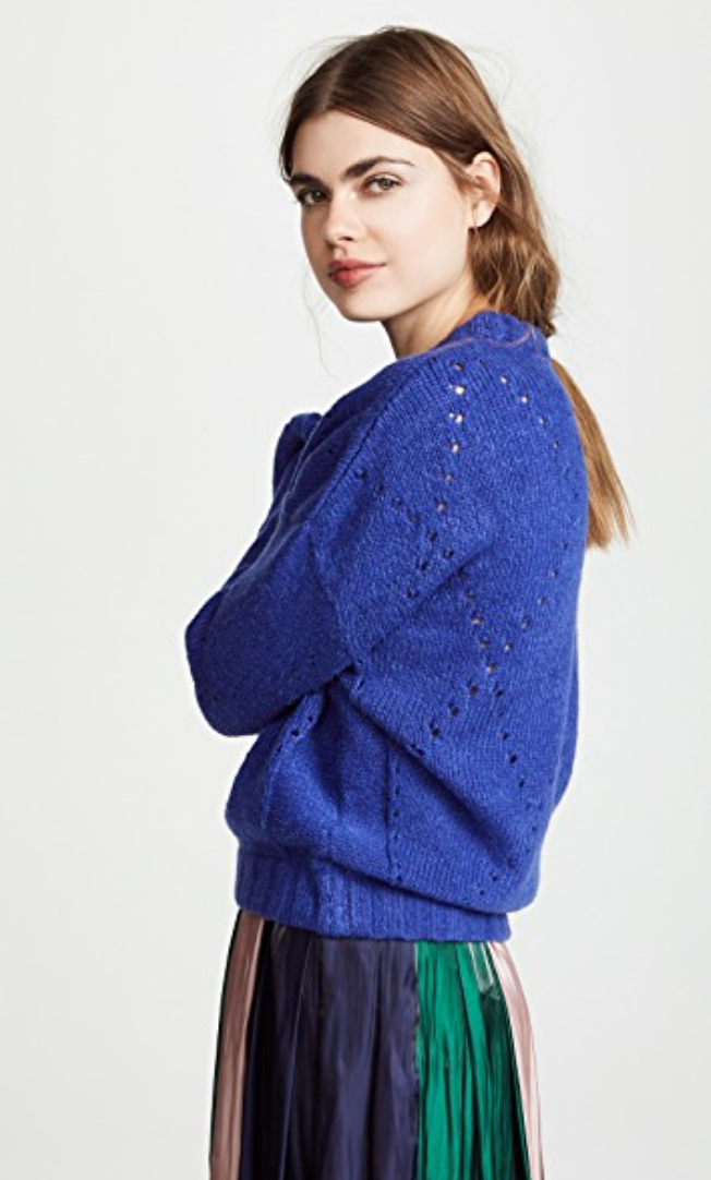 For Love and Lemons Mia Pointelle Sweater Cobalt