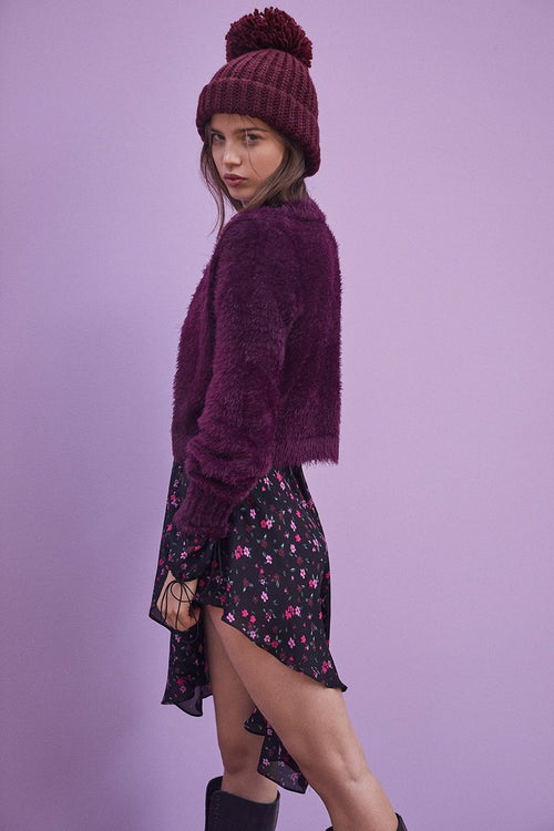 For Love and Lemons Lou Cardigan Purple Sweater