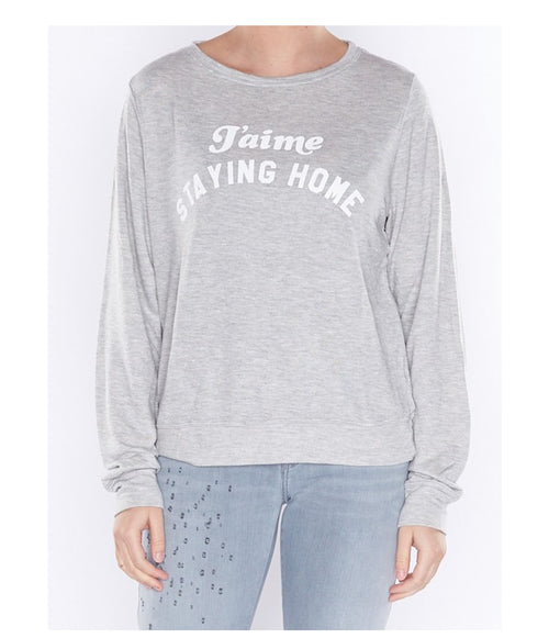 Wildfox J'aime Staying Home Sweatshirt