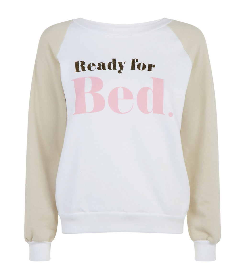 Wildfox Ready for Bed Junior Slogan Sweatshirt