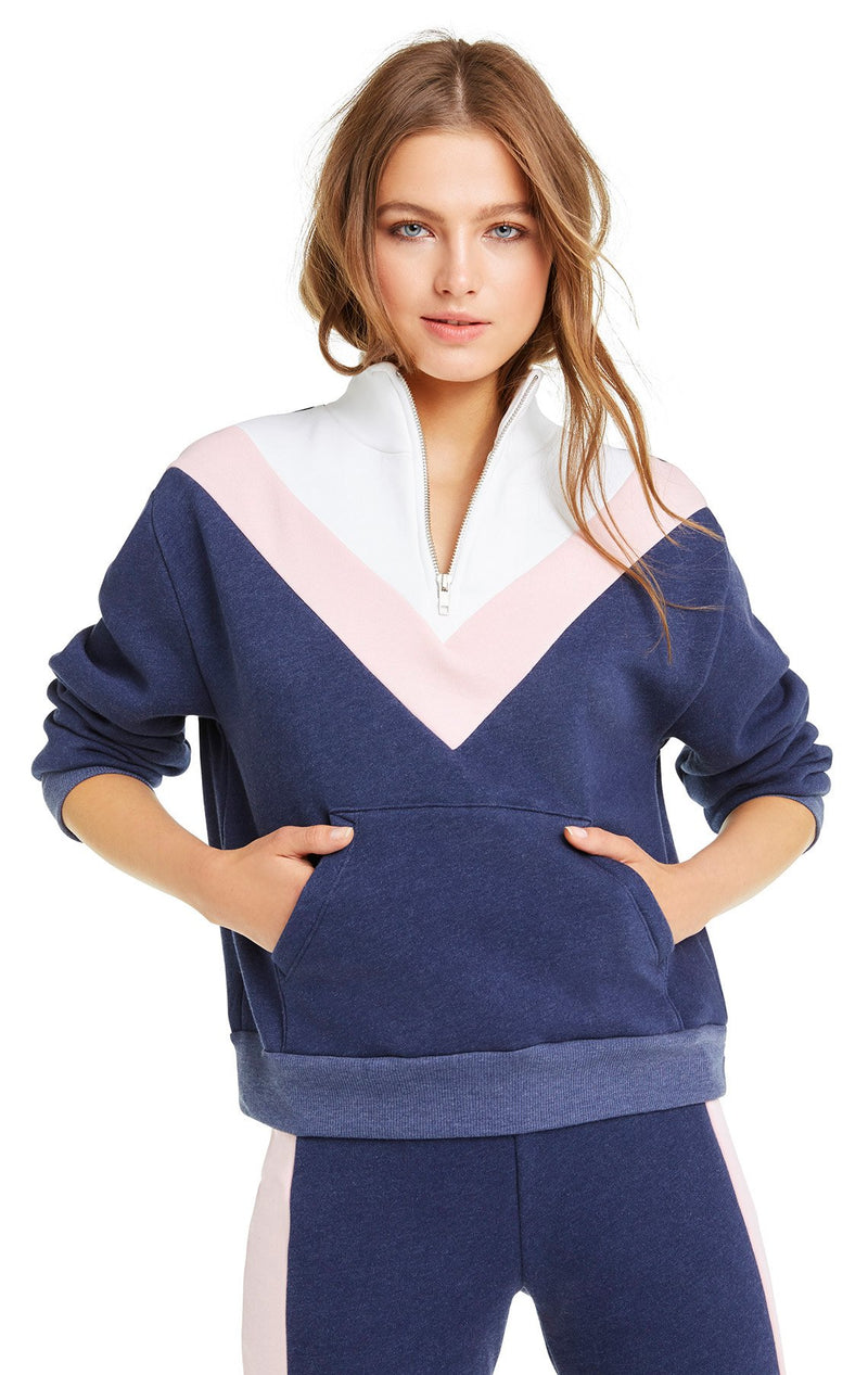 Wildfox Blocked Soto Warm-Up Sweater