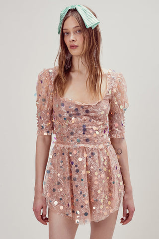 For Love & Lemons Sophie Velvet Floral Midi Dress