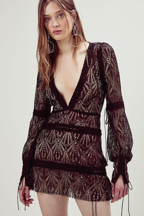 For Love and Lemons Bright Lights Long Sleeve Mini Dress