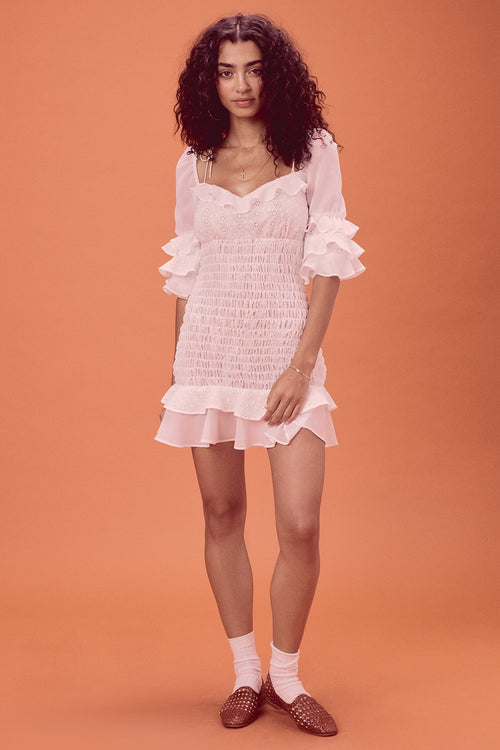 For Love and Lemons Bora Bora Ruffle Mini Dress