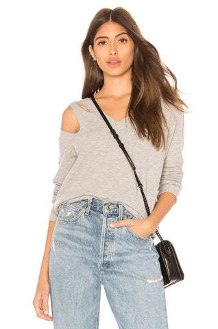 Sundry Stars Puff Sleeve Sweatshirt Acid Wash Gray