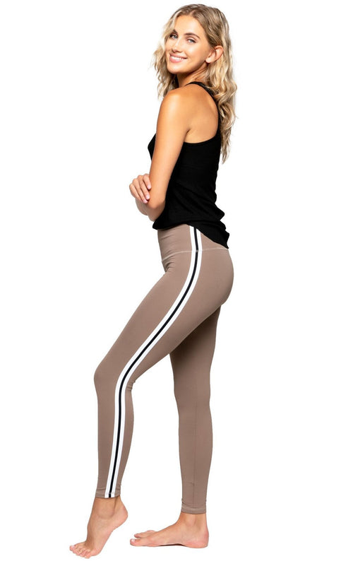 Strut This Sage Ankle Taupe Black Stripe Leggings
