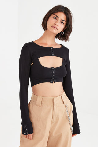 For Love and Lemons Mariah Crop Cardigan Black