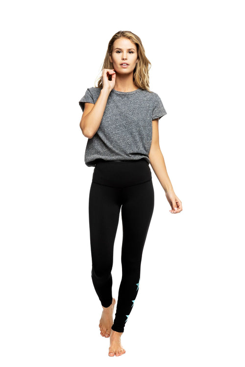 Strut This Star Ankle Legging Black/Teal Star