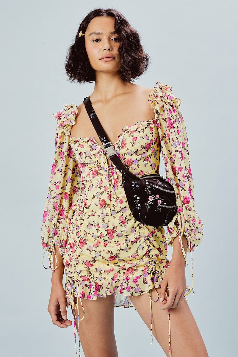 For Love and Lemons Emilie Fanny Pack Black Floral