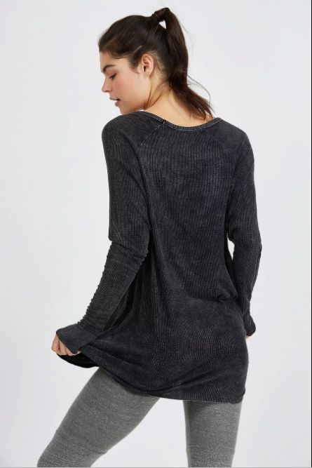 Joah Brown For Keeps V Neck Long Sleeve Top Graphite Rib