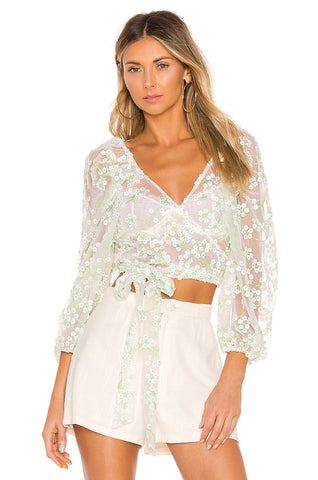 For Love and Lemons Limoncella Lace Blouse Top