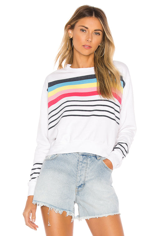 Sundry Stripes Crop Blouson Rainbow Sweatshirt