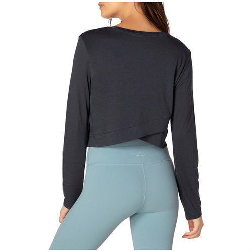 Beyond Yoga Back Out Reversible Cropped Pullover Black