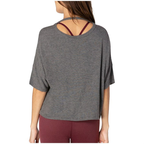 Beyond Yoga Brushed Back Tee Heather Grey