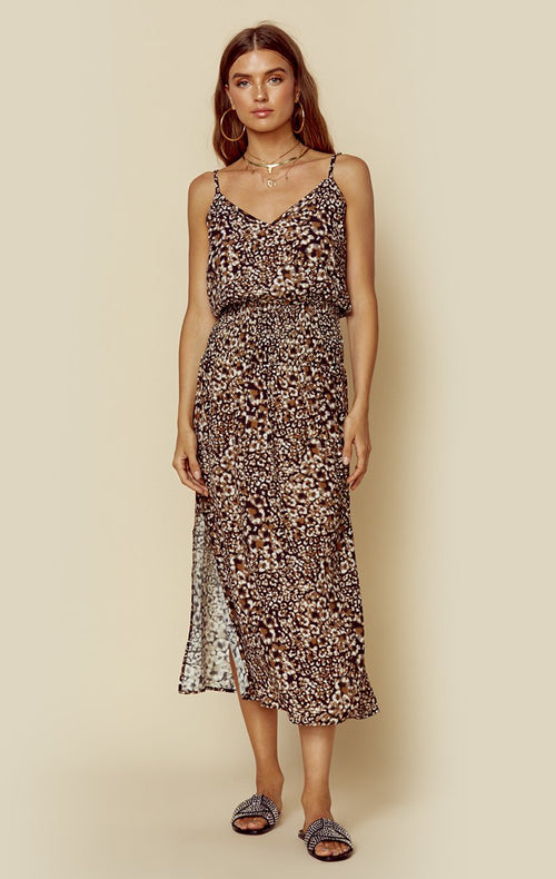 Blue Life Sunset Slit Maxi Dress Reverse Leopard