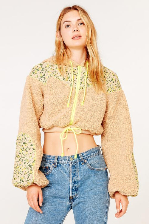 For Love and Lemons Brooke Shearling Cropped Hoodie Teddy