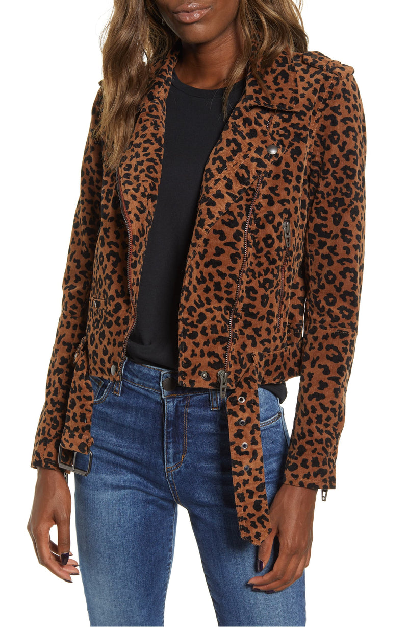 Blank NYC Leopard Jungle Cat Corduroy Moto Jacket
