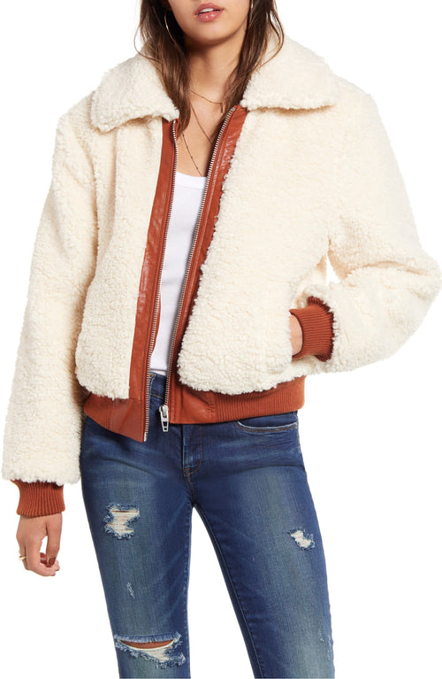 Blank NYC Faux Shearling Crop Jacket