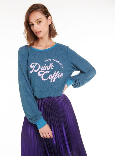 Wildfox Drink Coffee Baggy Beach Jumper Sweater