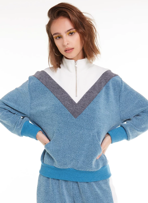 Wildfox Blocked Soto Warm-Up Sweater Jewel