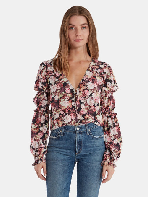 For Love and Lemons Eclipse Balloon Sleeve Blouse Top