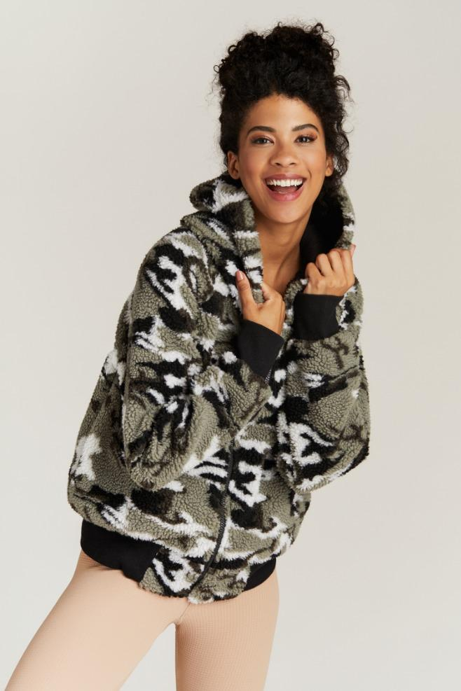 Strut This Abby Jacket Camo Sherpa